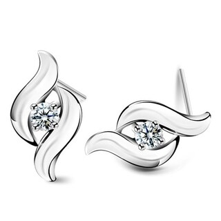Orchid Jewelry 18k White Gold Overlay Cubic Zirconia Fire Flame Stud Earrings - Silver