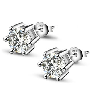 Orchid Jewelry 18k White Gold Overlay Cubic Zirconia Solitaire Stud Earrings - Silver