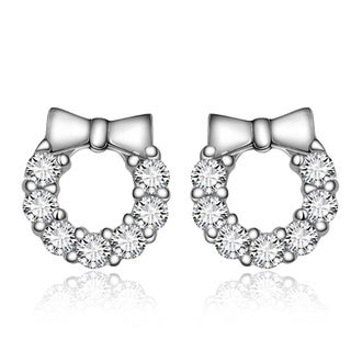Orchid Jewelry 18k White Gold Overlay Cubic Zirconia Bowknot Gem Circle Stud Earrings - Silver