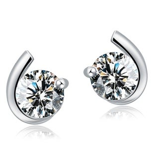 Orchid Jewelry 18k White Gold Overlay Cubic Zirconia Stud Earrings - Silver