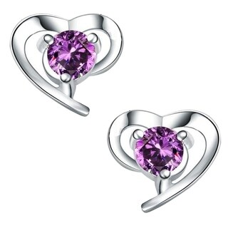 Orchid Jewelry 18k White Gold Overlay Cubic Zirconia Heart Solitaire Earrings Studs - Silver