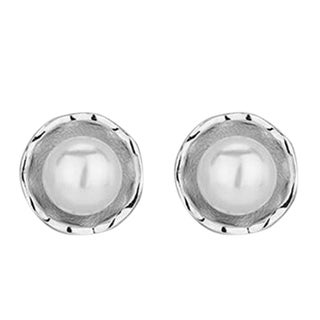 Orchid Jewelry Silver Overlay Pearl Oyster Stud Earrings