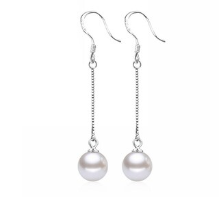Orchid Jewelry Silver Overlay Pearl Chain Dangle Earrings