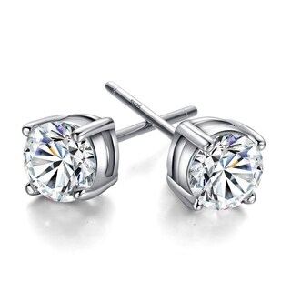 Orchid Jewelry 18k White Gold Overlay Cubic Zirconia Solitaire Earring Studs - Silver
