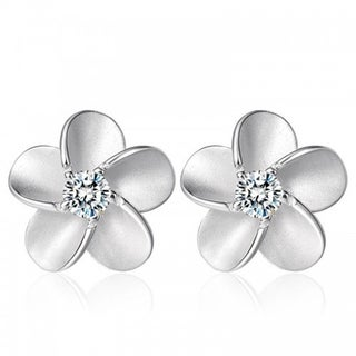 Orchid Jewelry 18k White Gold Overlay Cubic Zirconia Floral Stud Earrings - Silver