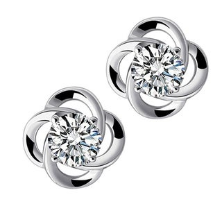 Orchid Jewelry 18k White Gold Overlay Cubic Zirconia Women's Stud Earrings - Silver