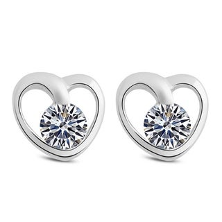Orchid Jewelry 18k White Gold Overlay Cubic Zirconia Heart Stud Earrings - Silver