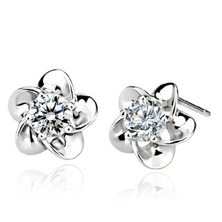 Orchid Jewelry 18k White Gold Overlay Cubic Zirconia Flower Stud Earrings - Silver