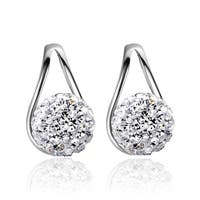 Orchid Jewelry 18k White Gold Overlay Cubic Zirconia Cluster Ear Studs - Silver