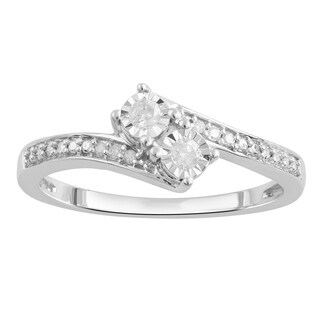 Divina Sterling Silver 1/10ct TDW Two-Stone Engagement Ring(I-J,I3) - White (3 options available)