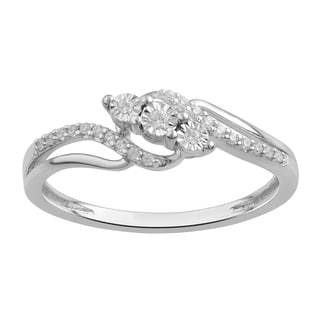 Divina Sterling Silver 1/10ct TDW Three-Stone Engagement Ring(I-J,I3) - White