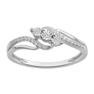 Divina Sterling Silver 1/10ct TDW Three-Stone Engagement Ring(I-J,I3) - White