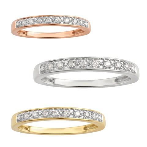 Divina Gold overlay sterling silver 1/10ct TDW wedding band.(I-J,I3) - White