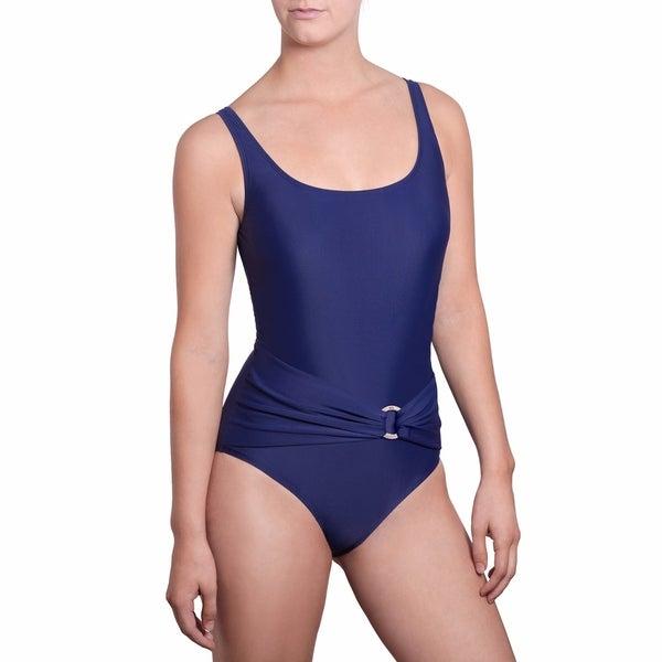 Jones New York Womens Essential Solid Drape Twist One Piece Swimsuit