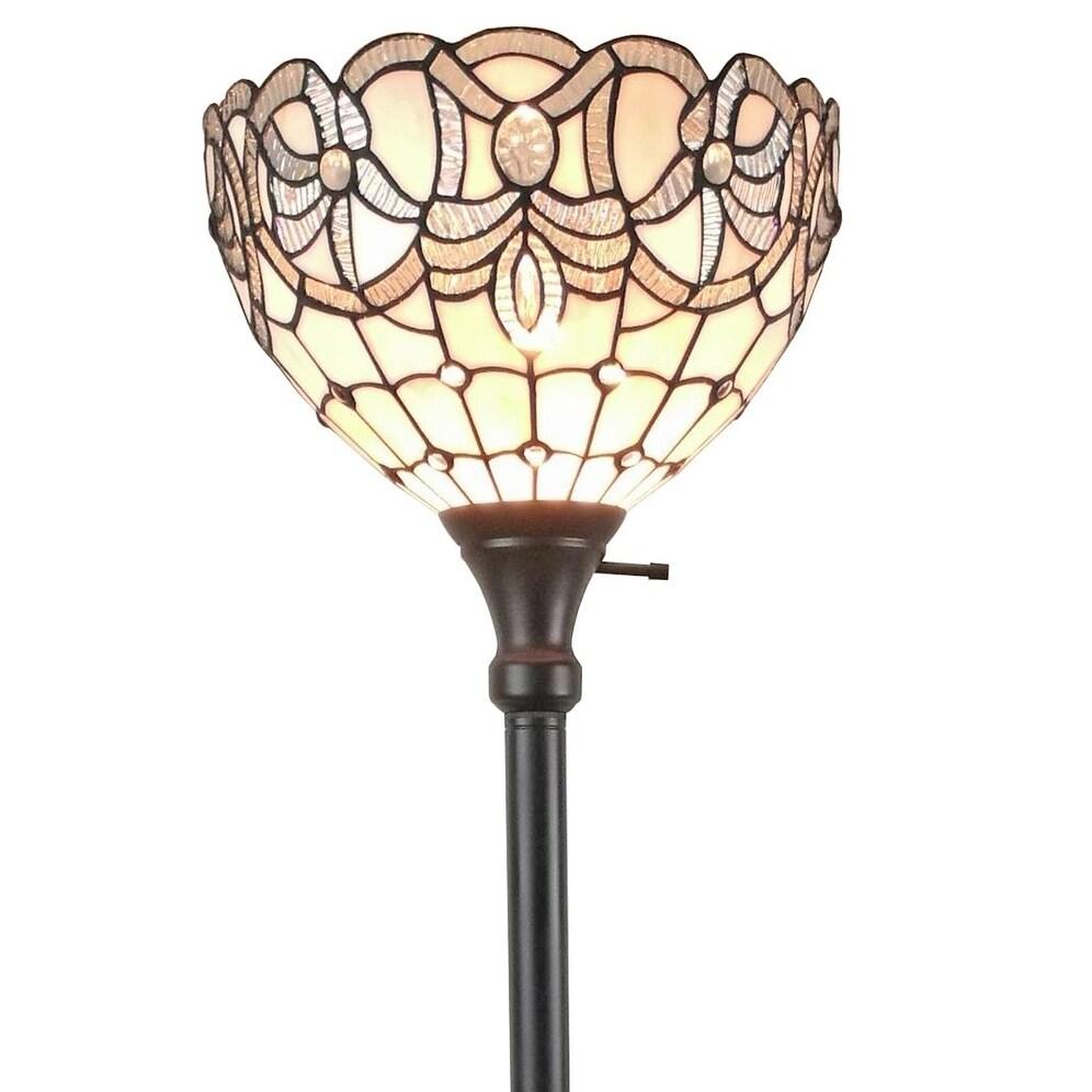 Shop Amora Lighting Am284fl12 Tiffany Style White Torchiere Floor
