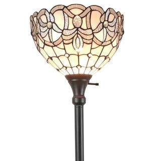 Amora Lighting AM284FL12 Tiffany Style White Torchiere Floor Lamp 72 Inches Tall|https://ak1.ostkcdn.com/images/products/17624644/P23839922.jpg?impolicy=medium