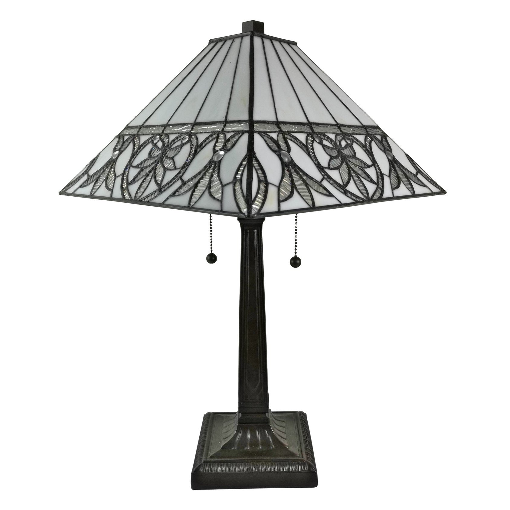 Amora Lighting Am303tl14 Tiffany Style White Fl Mission Table Lamp 22 Inches Tall
