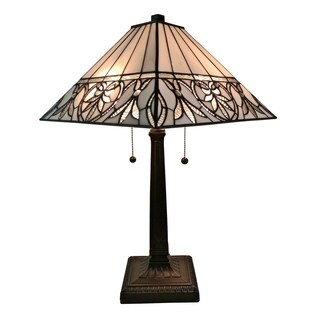 Amora Lighting AM303TL14 Tiffany Style White Floral Mission Table Lamp 22 Inches Tall