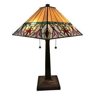 Amora Lighting AM302TL14 Tiffany Style Floral Mission Table Lamp 22 Inches Tall
