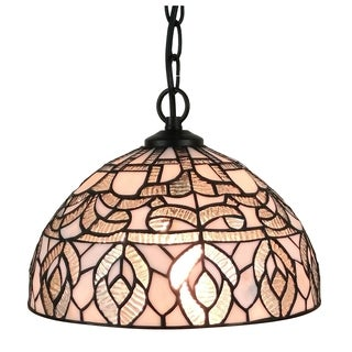Amora Lighting AM274HL12 Tiffany Style White Hanging Lamp 12 Inches Wide