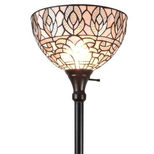 Shop Amora Lighting Am275fl12 Tiffany Style White Torchiere Floor Lamp 72 Inches Tall On Sale
