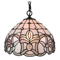 Amora Lighting AM282HL12 Tiffany Style White Hanging Lamp 12 Inches Wide