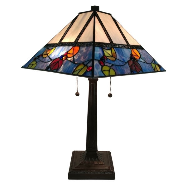 Amora Lighting AM300TL14 Tiffany Style Berries/Leaves Mission Table Lamp 22 Inches Tall