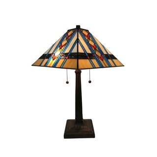 Amora Lighting AM290TL14 Tiffany Style Mission Table Lamp 22 Inch Tall