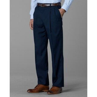 Twin Hill Mens Pant Navy Poly/Wool Double Pleated