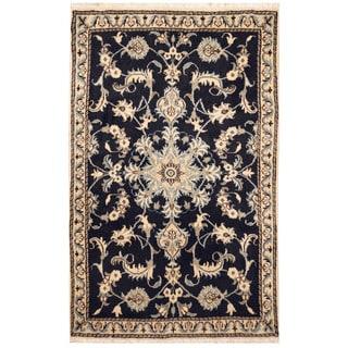 Herat Oriental Persian Hand-knotted Nain Wool & Silk Rug (2'10 x 4'5)