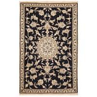 Handmade Herat Oriental Persian Nain Wool & Silk Rug (Iran) - 2'10 x 4'6