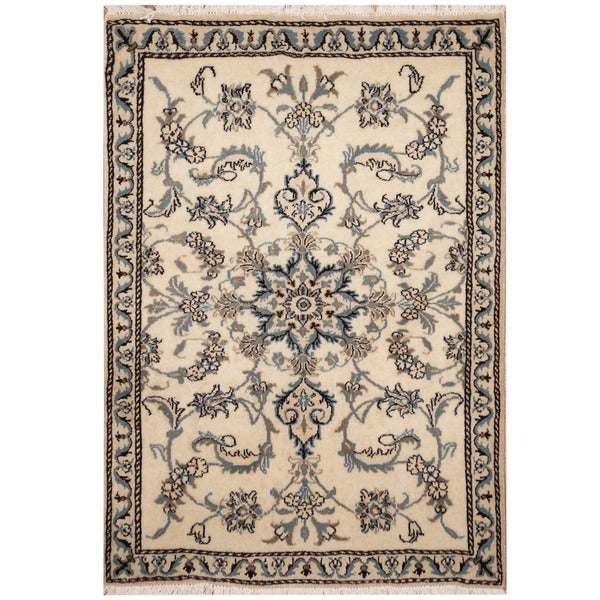 Handmade One-of-a-Kind Nain Wool and Silk Rug (Iran) - 3' x 4'3. Opens flyout.