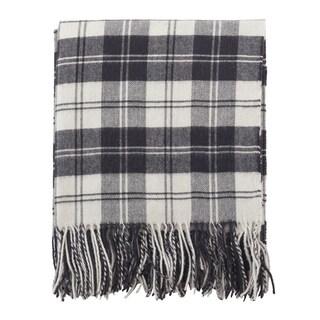 Classic Plaid Pattern Tassel Wool Blend Throw Blanket