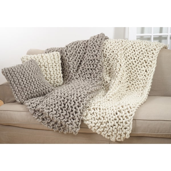 Chunky Cable Knit Premium 100% Wool Throw Blanket. Opens flyout.