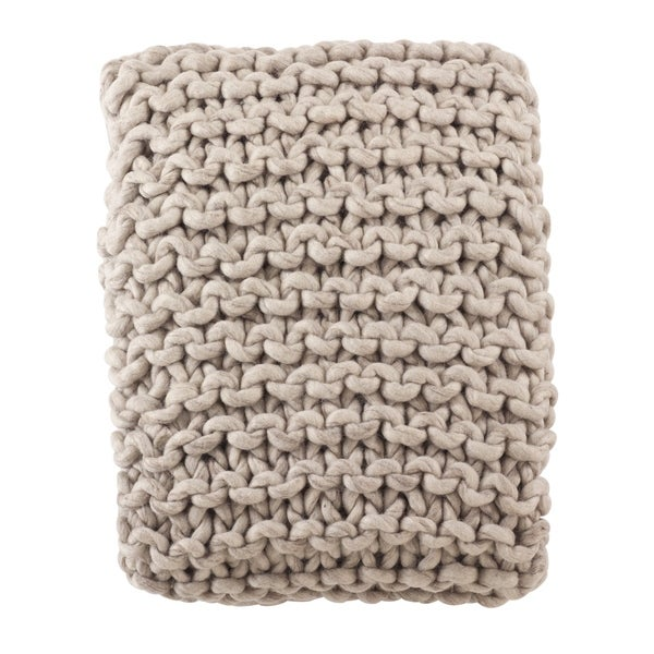 Shop Chunky Cable Knit Premium 100 Wool Throw Blanket On Sale