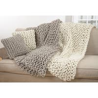 Chunky Cable Knit Premium 100% Wool Throw Blanket