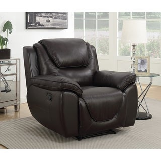 Colton Leather Touch Rocker Recliner with Memory Foam Seat Topper