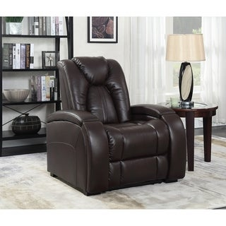 Peyton Home Theater Power Recliner with Memory Foam Seat Topper, Cup Holder, USB Charging, AC Power Outlets and Removable Table