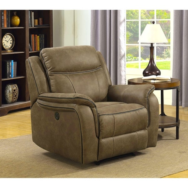 Hudson Power Recliner with Memory Foam Seat Topper, USB Charging Port and Power Adjustable Headrest