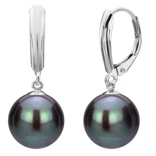 DaVonna Sterling Silver Black Round Freshwater Pearl High Luster Lever-back Dangle Earring.