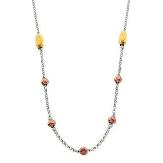 Eternally Haute Italian Solid Sterling Silver Diamond Cut Flat Beads Necklace