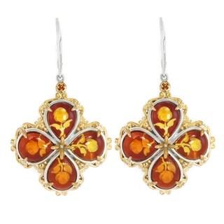 Michael Valitutti Palladium Silver Carved Amber & Orange Sapphire Dangle Earrings