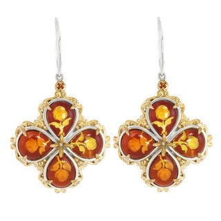 Michael Valitutti Palladium Silver Carved Amber & Orange Sapphire Dangle Earrings