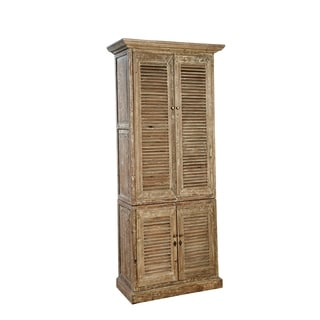 Common Home Cleo Brown Wood Shuttered Linen Cabinet