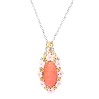 Michael Valitutti Palladium Silver Salmon Bamboo Coral, Orange Sapphire & Carved Shell Flower Pendant