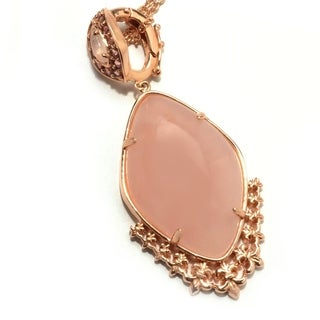 Dallas Prince Sterling Silver Rose Quartz Pink Tourmaline Pendant