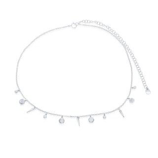 """La Preciosa Italian Sterling Silver Shiny Disc and Spike 12+4"""" Choker Necklace"""