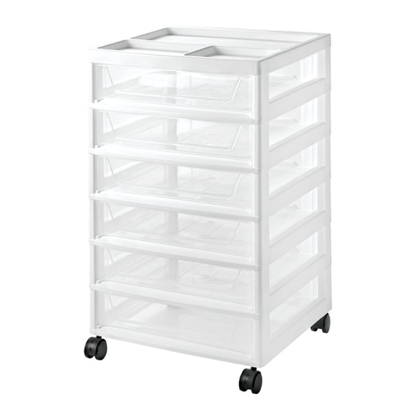 IRIS 6-Drawer Scrapbook Cart, White