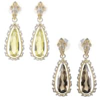 Michael Valitutti Palladium Silver Elongated Smoky Quartz/Ouro Verde Scrollwork Frame Dangle Earrings
