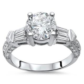 1 ct Noori Round Moissanite Center 2/5 ct Diamond Surrounding Engagement Ring 14k White Gold